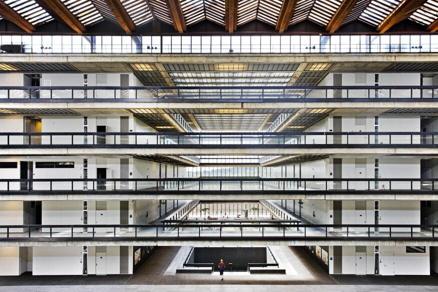 View inside the corridor-lined atrium