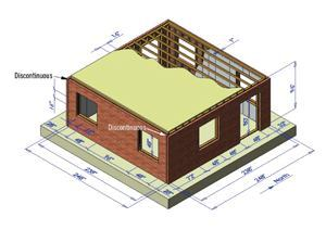 Full-size wood-stud frame structure with sheathing, ties, and clay masonry veneer; gypboard inside