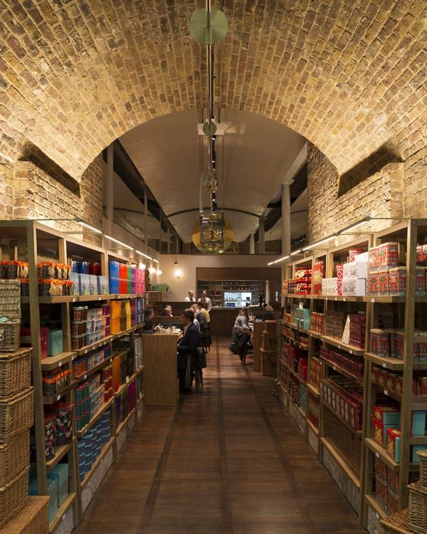 A view through one of the retail bays to the tea salon beyond.