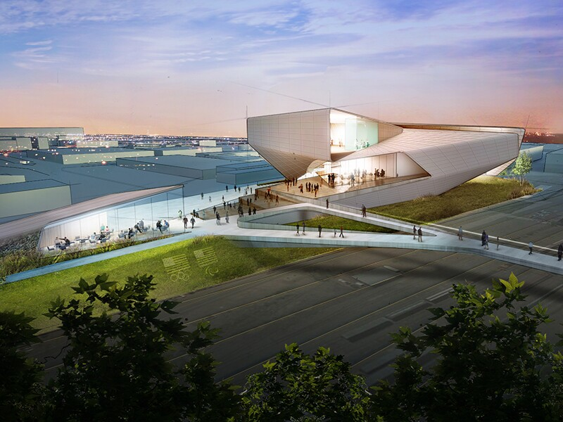Preliminary Design Concept for the United States Olympic Museum: View from the Northwest.