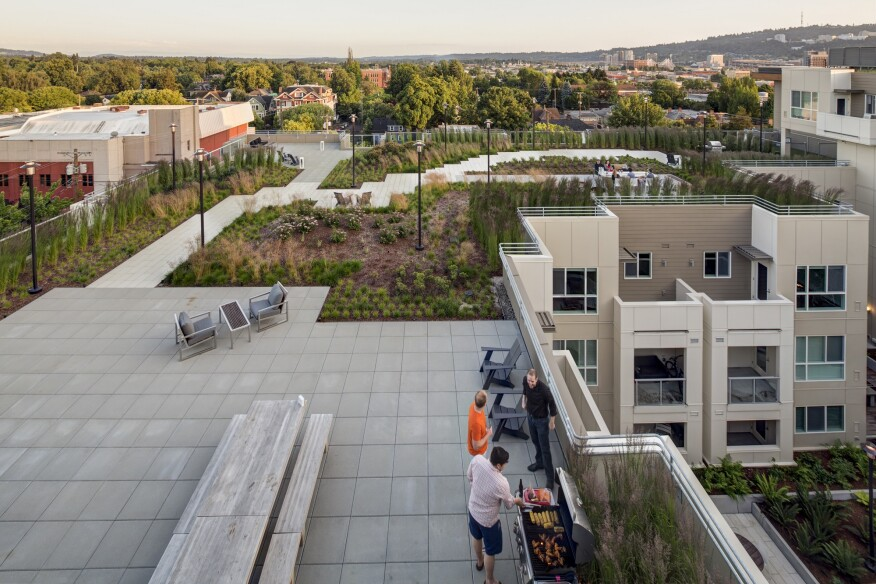 KTGY's Linden Apartments in Portland, Ore., has7,580 square feet of rooftop space, most of which is a garden terrace.