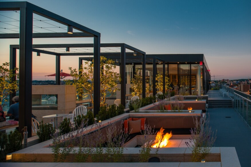 fire pit, rooftop lounge,