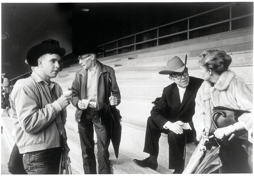 Dominique de Menil at a rodeo in Simonton, Texas, with René Magritte.