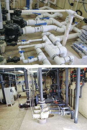 Clearing the clutter: Equipment rooms become messy when builders try to use more assemblies in place of the commercial-grade equipment and plumbing that would otherwise be needed, as seen in the top photo. Sunbelt Pools cleaned up the room to achieve a more streamlined result, above.