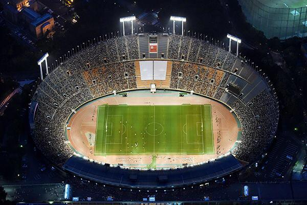 The closing ceremony of the Tokyo National Stadium on May 31, 2014. The stadium, designed by Mitsuo Katayama for the 1964 Olympic Games, will be replaced with a stadium designed by Zaha Hadid for the 2020 Olympics.