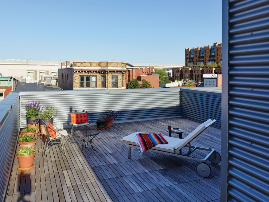 The four units at 1232–1234 10th St. in Northwest Washington, D.C., developed by architect Suzane Reatig, each feature a large terrace or roof deck.