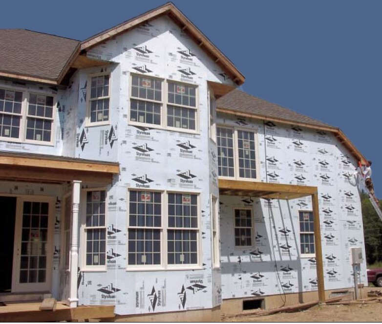 Exterior foam serves many functions, providing thermal insulation, enhanced drainage, and protection from air infiltration and water vapor. It's not structural, however, and should be applied over OSB- or plywood-sheathed framing.