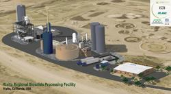 """The nation's first """"SlurryCarb"""" facility, shown here, is sited on  an old landfill next to a wastewater treatment plant that serves Rialto, Calif. Fees  from communities that bring their sludge to this facility will  go to the city's general fund. Source: MBN Group Inc."""