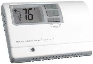 SimpleComfort Pro thermostats  ICM controls  www.icmcontrols.com   Line of programmable and nonprogrammable thermostats    Insulation layer seals off wall opening for better accuracy    Permanent memory without batteries    Three programming options