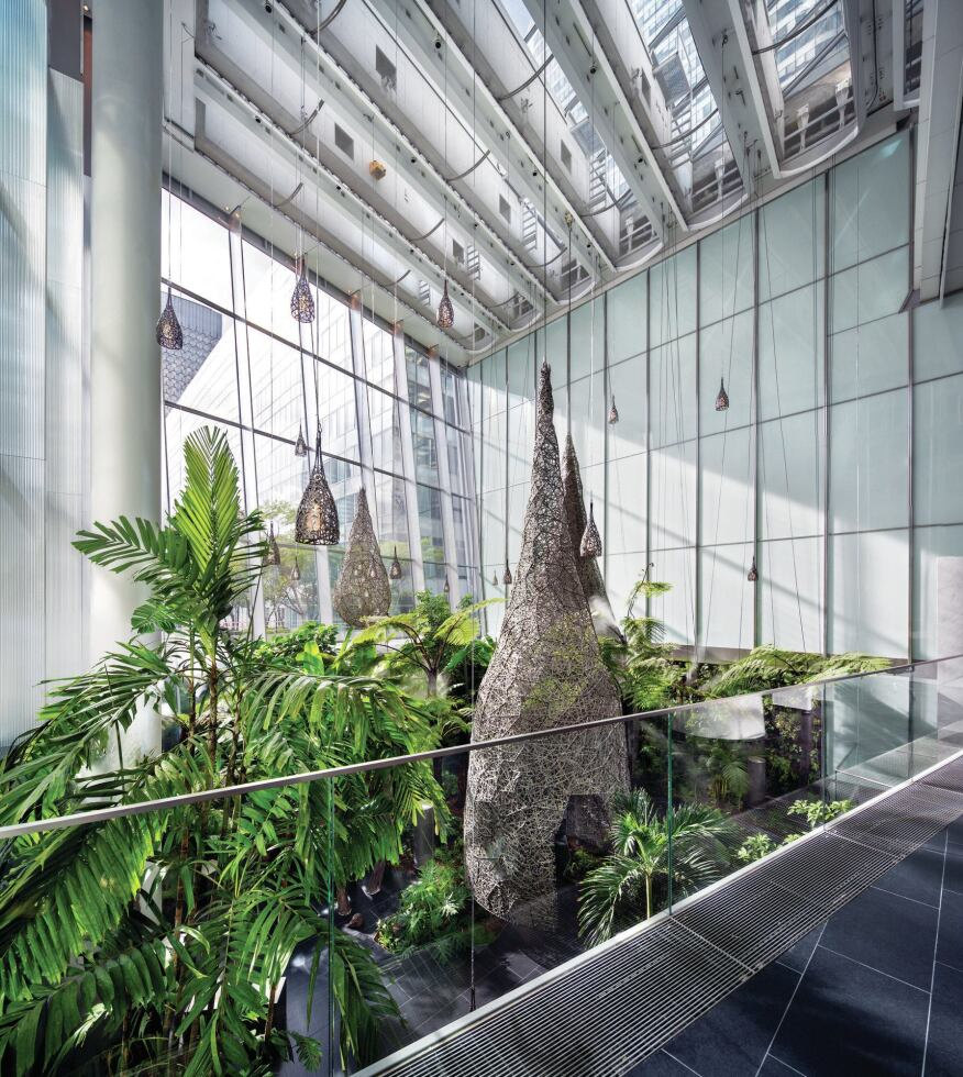 A sunken winter garden at the base of the tower was developed in concert with landscape architect Ronan Gallais and garden designer Christian Fournet.