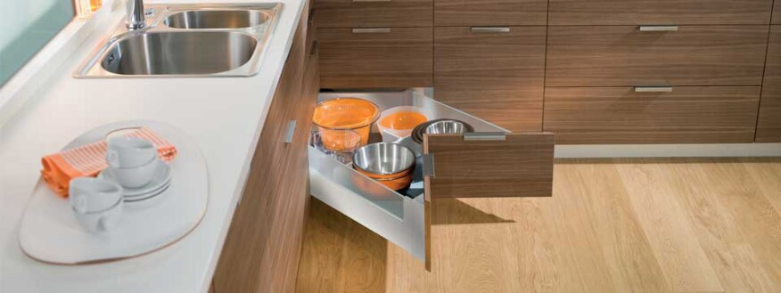 Blum, blumotion, tandembox, corner drawer, space corner, corner storage, corner kitchen storage