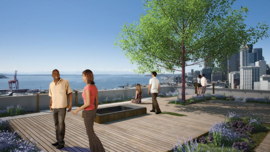 Luscious rooftop common areas at Stadium Place will provide residents with space to take in Seattle's beauty. The areas are equipped with plenty of seating for residents to entertain friends and guests.