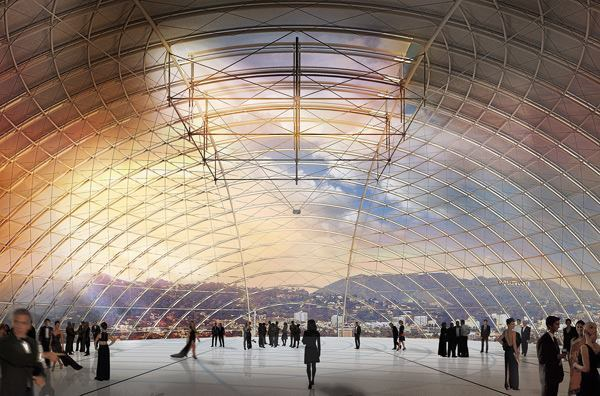 The design includes a 150-foot in diameter glass dome addition that functions as a 1,000-seat theater and event space, with panoramic views of the Hollywood Hills and Hollywood.