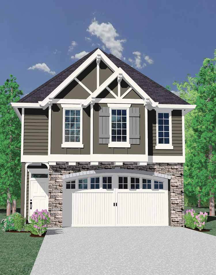 Fourplans ultra narrow house plans builder magazine for Narrow craftsman house plans