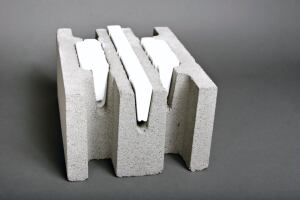 OMNI BLOCK. This product is a concrete masonry unit designed to accommodate specially shaped insulating inserts of expanded polystyrene. As a result, the block can be used to create structural, stand-alone exterior walls that require no additional insulation, interior furring, or drywall framing. The block is manufactured in a low-embodied energy process using locally quarried raw materials, and the EPS inserts are made of nontoxic, chemically stable, CFC- and VOC-free recycled refinery waste. All block and insert materials are also 100% recyclable with zero formaldehyde content. Omni Block qualifies for LEED credits. 877.711.6664. www.omniblock.com.