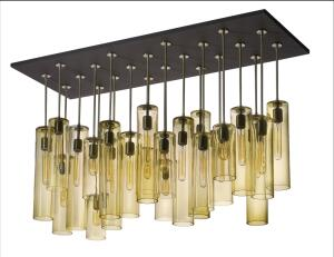 Cyla Chandelier    jGoodDesign  jgooddesign.com  Custom-designed chandelier - Available in varying heights, colors, and finishes, and as a single pendant or full chandelier - Choice of halogen, incandescent, or LED light sources - Made of hand-blown, partially recycled glass - Recyclable aluminum and brass are hand-brushed, with no plating or anodizing - Can be hung from a stem or cord