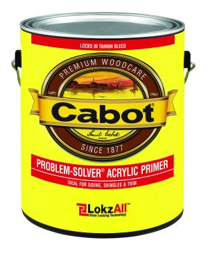 Lock Down: Problem-Solver is an acrylic exterior primer that features LokzAll technology that chemically bonds with extractive tannin bleed and locks it into the primer. The result is a surface that will be protected from discoloration. It is recommended for use on surfaces such as wood siding, trim, shingles, plywood, fiber-cement siding, and masonry, among others. Cost: $27 per gallon. Cabot. 800-877-8246. www.cabotstain.com.