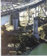 The huge foundations for the San Francisco-Oakland Bay Bridge could have resulted in heat buildup and large temperature differentials. Above: The massive concrete foundations and piers on the San Francisco-Oakland Bay Bridge required special mix designs and construction practices to control concrete temperatures.