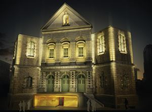 Montreal-based BCK Design's proposal to illuminate the façade of the Gesú features a yellowish glow resembling a candle flame created by LEDs around the theater entrance, but uses mostly white light to accent the church. The designers were inspired by the building's history and wanted to highlight its dual functions as a church and a theater.