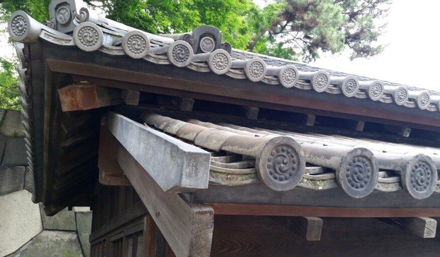 Roof of guardhouse at Imperial Palace grounds in Tokyo