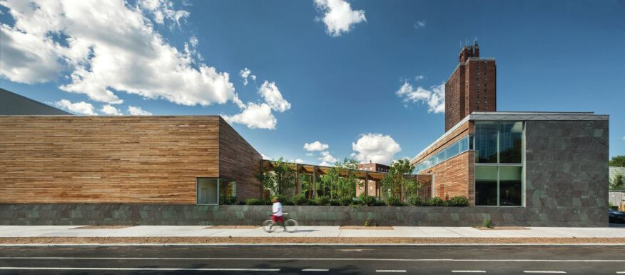 Wherever possible, the architects incorporated West African–inspired patterning into the Weeksville Heritage Center, as in the Vermont Structural Slate wall panels.