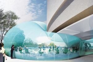The inflatable membrane structure will protrude out from the central atrium, under the building itself, and into the western courtyard, encompassing a 2,000-square-foot lounge.