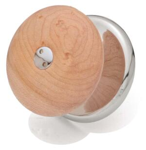 Azucena Door Hardware  Ebano  1.9-inch knob in bird's-eye maple and chrome-plated brass
