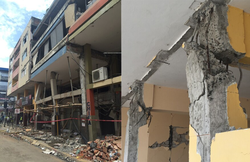 Typical damage to buildings after the Ecuador earthquake in April 2016.