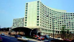 Concrete has long been a part of hotel construction, as shown here at the Capital Hilton Hotel in Washington, D.C. competed in 1942.