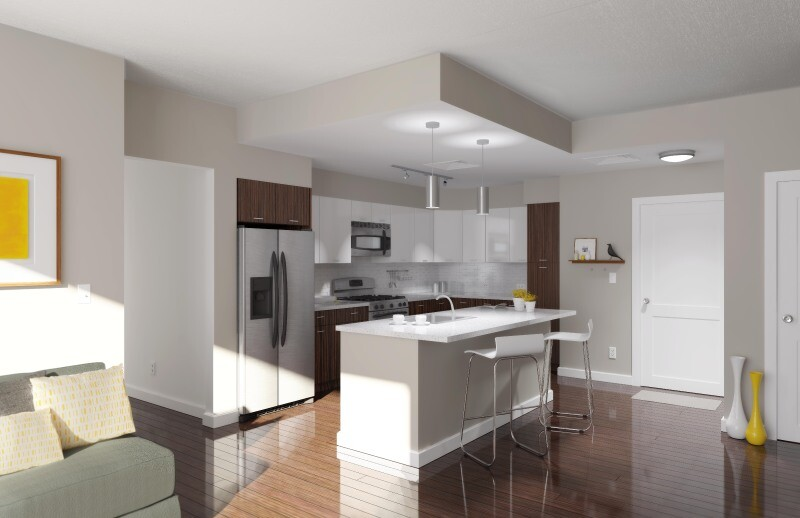 Condo-quality finishes such as quartz countertops in the kitchen help compensate for the small size of most of the units at 3601 Market.