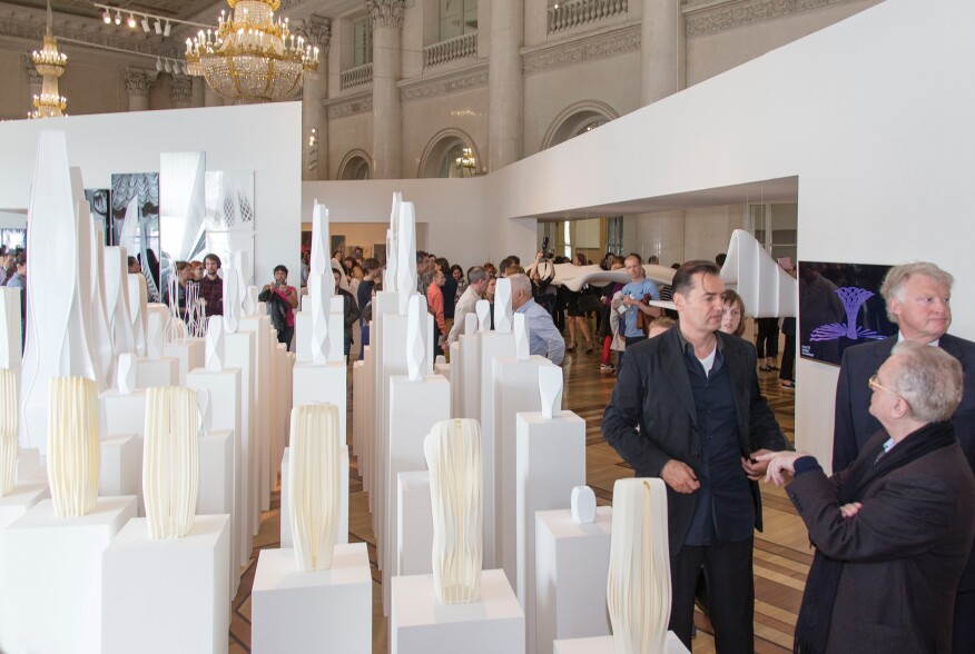 A collection of Hadid's skyscraper models at the exhibition