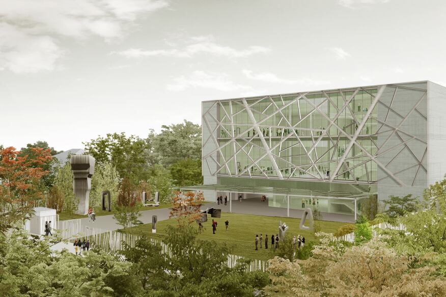 Close up view of the proposed building