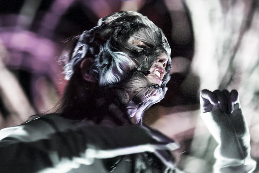 Björk wears the Rottlace mask during her June 8, 2016,  live performance in the Miraikan, Tokyo.