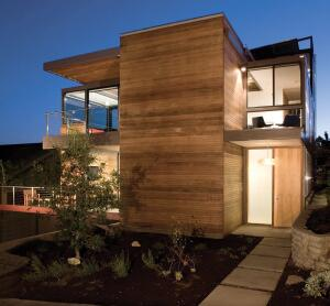 The LEED for Homes pilot program's first Platinum-rated residence is a prefab model house in Santa Monica, Calif. Designed by Ray Kappe, FAIA, and developed by LivingHomes, the modular house was installed on its site last April.