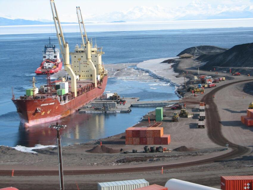 The cargo ship MV Green Wave at McMurdo Station. Green Wave delivered more than 6.8 million pounds of supplies to McMurdo last year.