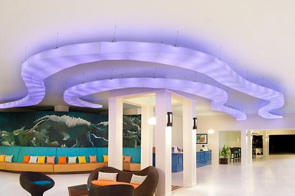 These decorative ceiling clouds by Seeyond Architectural Solutions were designed with its proprietary specification tool Tess, which coordinates the clouds' design, manufacturing, and installation processes. Made with a strong cellular resin that weighs 1 pound per square foot, the clouds are installed in modules and use hidden hardware. seeyond.com