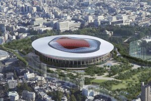 """This artist rendering provided by the Japan Sports Council Monday, Dec. 14, 2015 shows Design """"A"""" proposed by one of two groups competing to build the new Tokyo Olympic stadium. The Japan Sports Council released the designs on Monday and said the winner will be chosen this month. It did not identify which companies have proposed which designs. (The Japan Sports Council via AP)  MANDATORY CREDIT"""