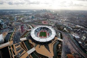 Aerial view of Populous's Olympic Stadium in London.