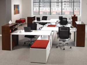 Fluent    Kimball Office  kimballoffice.com  Configurable worksurfaces, tables, storage elements, and privacy screens - Designed using EPA Design for the Environment standards and LEED protocols - Made using aluminum castings with high recycled content - Scientific Certification Systems Indoor Air Quality and level 1 certified