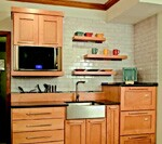 A kitchen design for fast cooking and easy cleanup