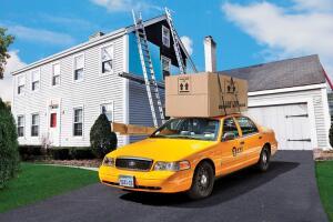 Cab delivering building materials