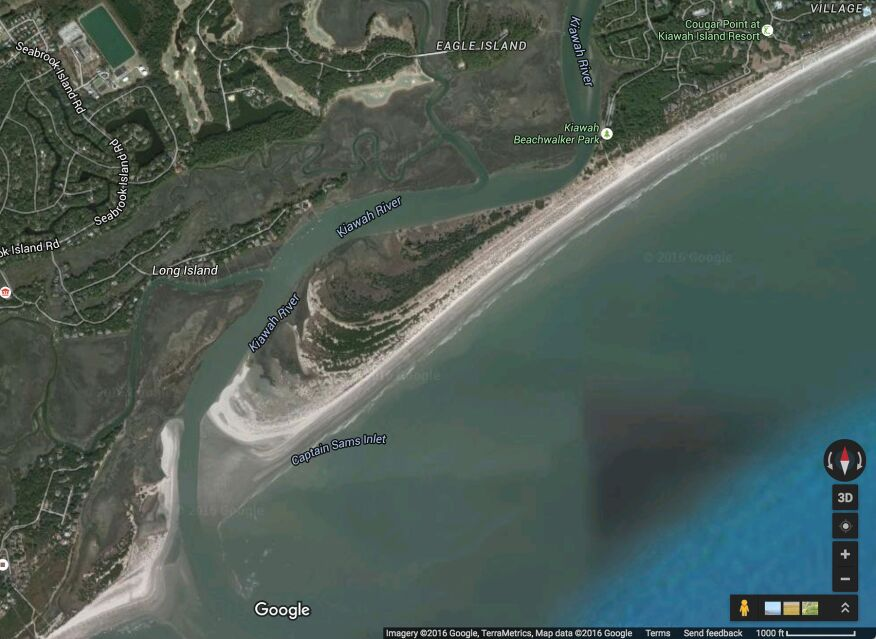 Google Earth satellite imagery shows Captain Sam's Spit, a barrier island peninsula in the gated community of Kiawah Island, South Carolina, where developers intend to construct a new road and 25 new homes.