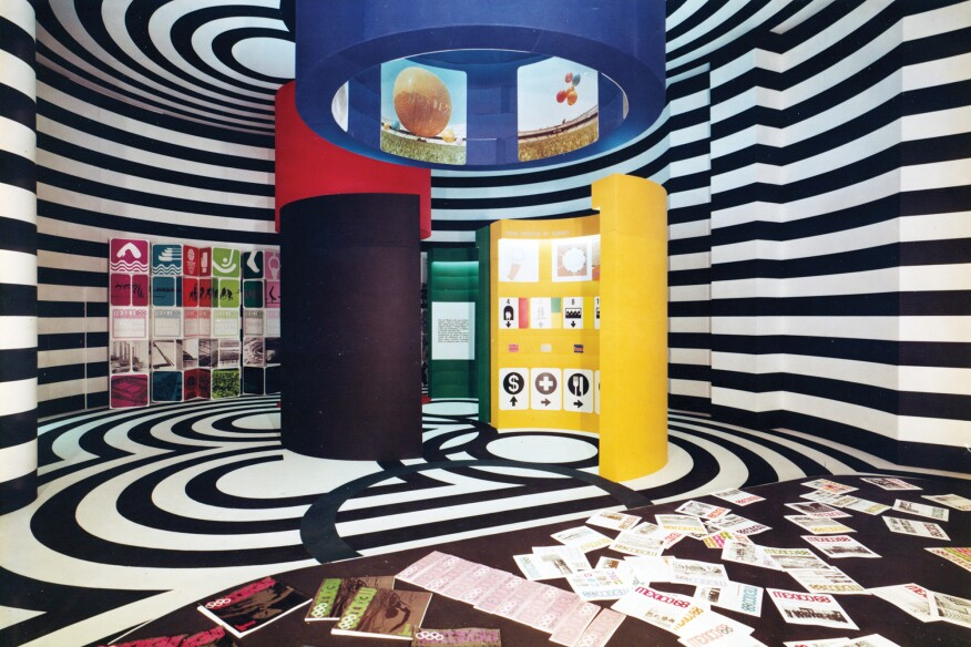 Exhibit featuring the Mexican Pavilion from the Triennale di Milano in 1968