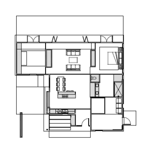 The ProjeKt home contains seven prefab cartridges (highlighted above in gray) that hold the guts of the house including kitchen and bathroom plumbing, mechanical systems, and an indoor living garden wall.