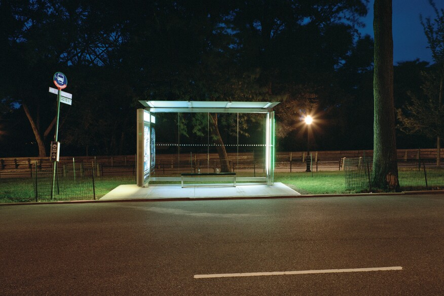 """Riverside Drive, New York City""""I was impressed by the sense of refuge of the new bus stop with its glowing green glass and clear view of the foliage behind it."""" -- Lynn Saville"""