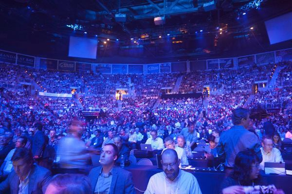 In a stadium typically used for rock concerts, approximately 10,000 architects, BIM managers, investors, and media gather for the keynote at Autodesk University 2014.