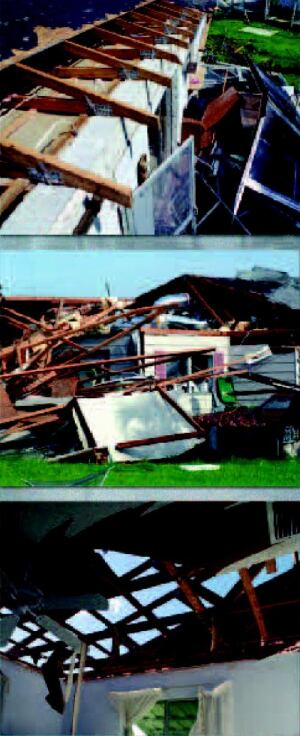 INFIRMITIES OF AGE?: Nearly all the severe structural damage from Florida's four storms struck homes built prior to new codes and building techniques. In a typical tear-down scenario, homes lost shingles, then sheathing, and then walls to high winds.