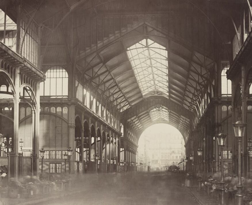 Interior of Les Halles Centrales, 1874. Albumen print from collodion negative. The AIA/AAF Collection, Prints and Photographs Division, Library of Congress, Washington D.C.