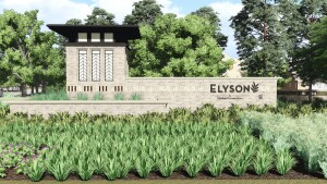 A rendering of the main entry to Elyson, a 3,642-acre community being developed west of the Grand Parkway at FM 529. Newland Communities plans more than 6,000 homes in the community.