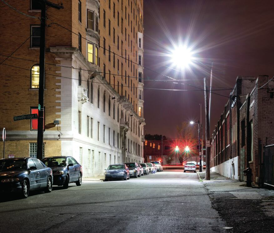 Whether the neighborhood is industrial (seen here) or residential, Detroit's LED streetlighting program is allowing businesses and residents to reclaim their city and its nighttime environment.